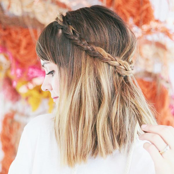 Half-Up Braided Crown for Short Hair