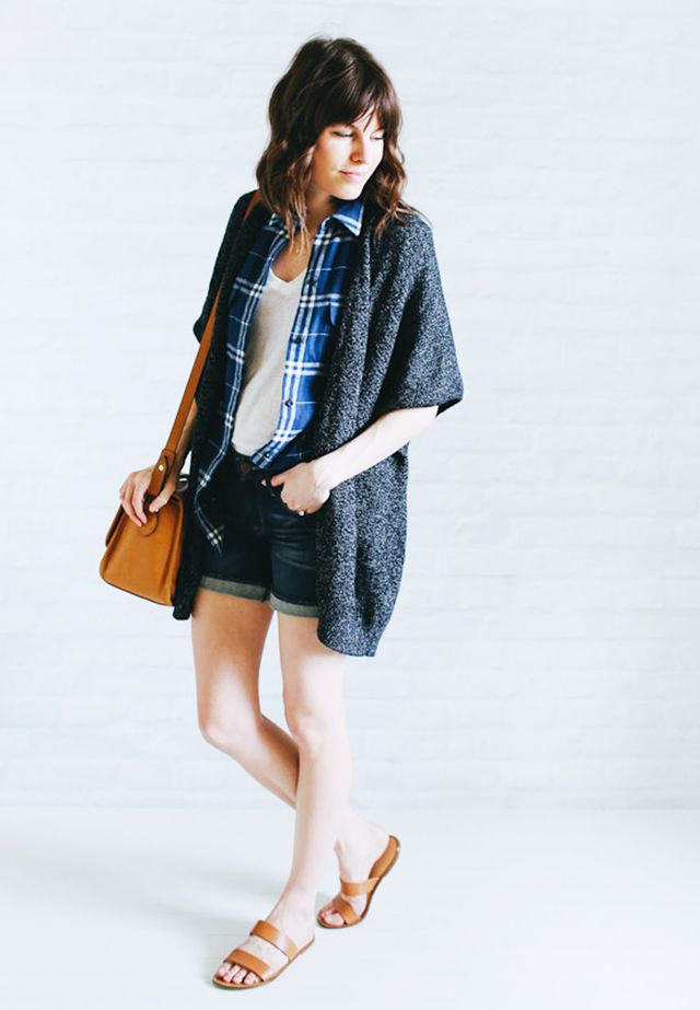Cape cardigan + Plaid shirt + White t-shirt + Jean shorts + Slip-on sandals