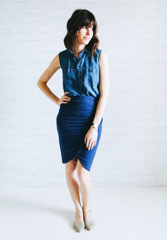 Sleeveless denim shirt + Wrap skirt + Pointed-toe flats