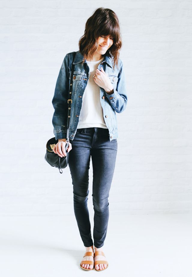 Jean jacket + White tank + Gray jeans + Slip-on sandals