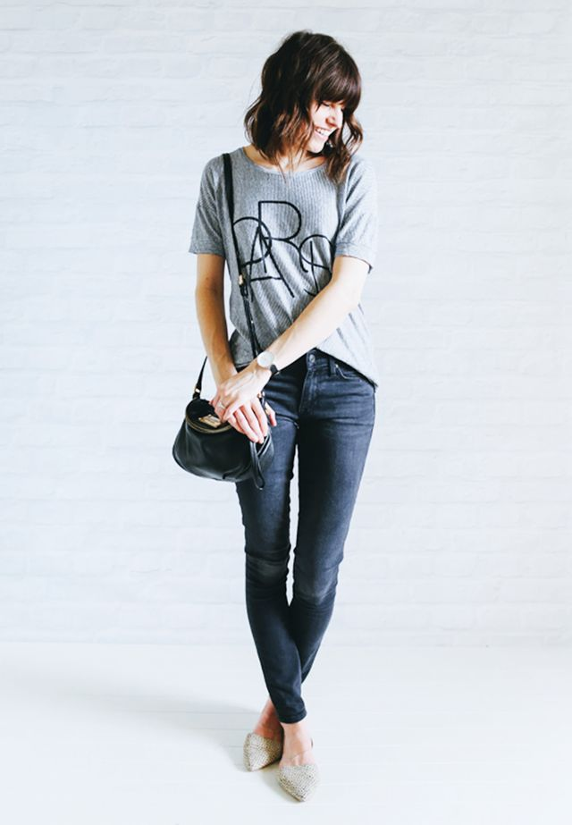 Graphic Tee + Gray jeans + Pointed-toe flats