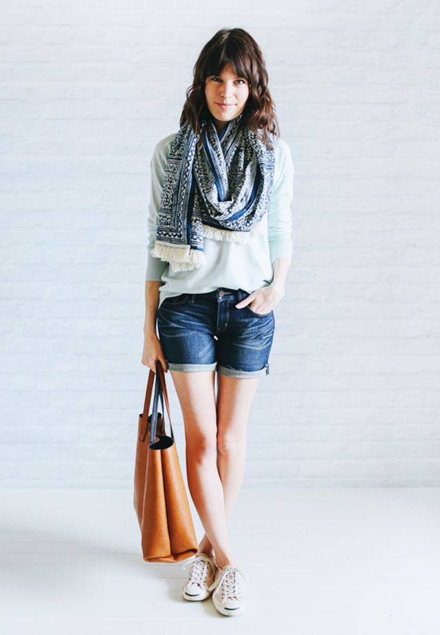 Mint sweater + Jean shorts + White sneakers