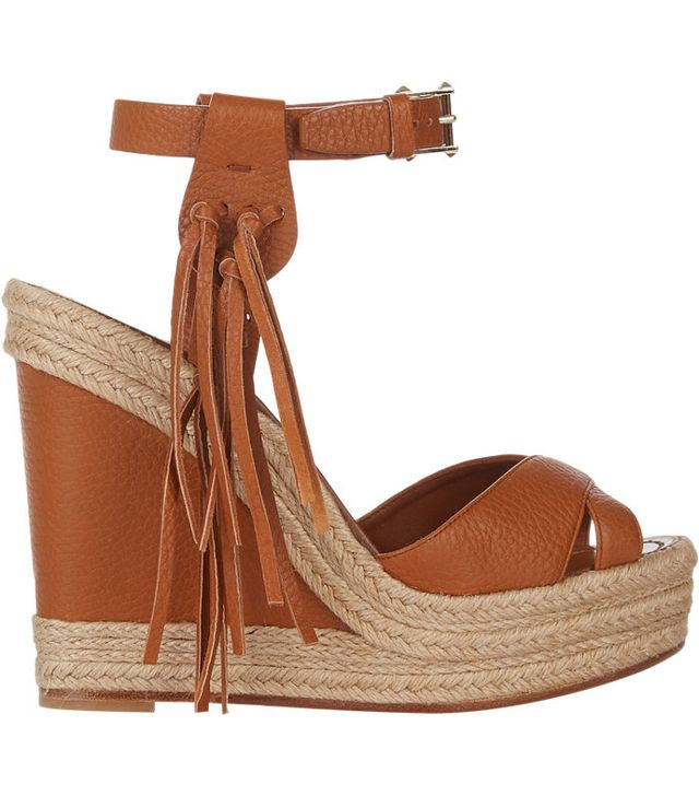 Valentino Fringe-Trim Platform Wedge Sandals