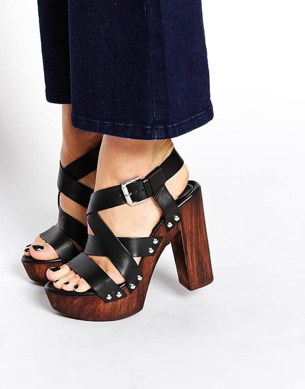 Carvela Kookie Black Leather Heeled Sandals