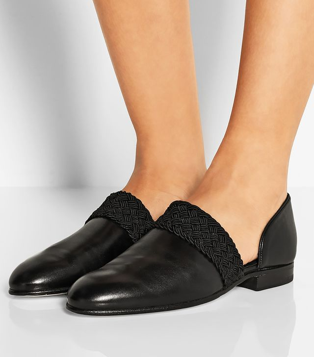 Loewe Braid-Trimmed Leather Loafers