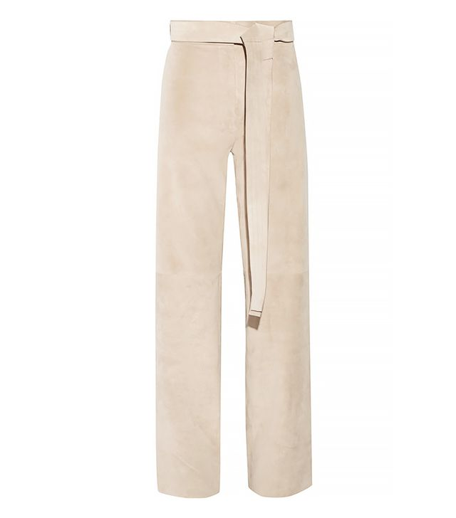 Loewe Suede Wide-Leg Pants in Cream