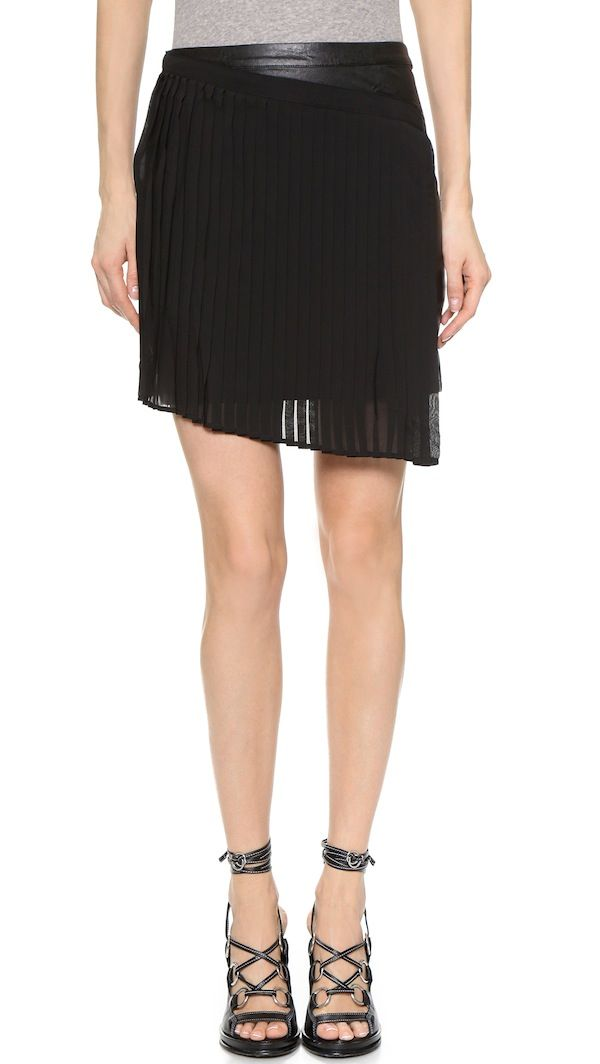 Shades of Grey by Micah Cohen Asymmetrical Pleated Wrap Skirt