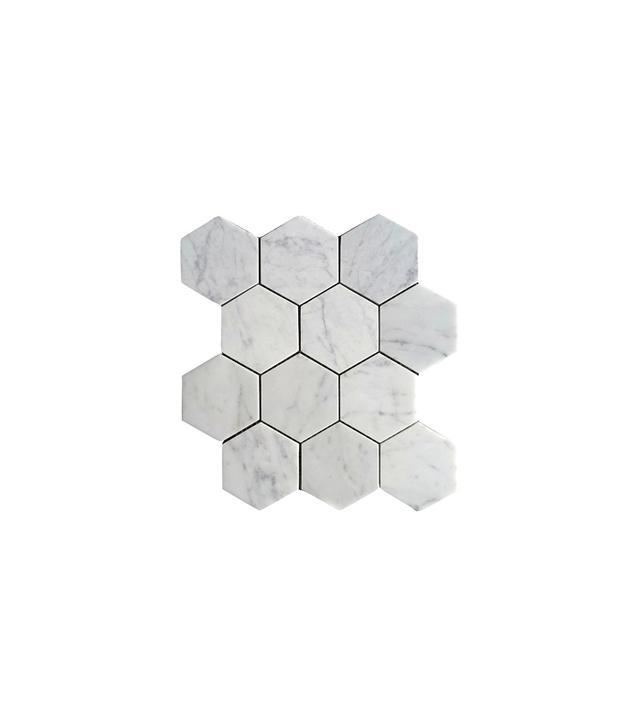 The Builder Depot Carrara Bianco Hexagon Marble Mosaic Tile