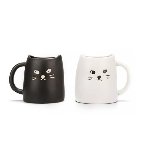 Black & White Cat Mug Set