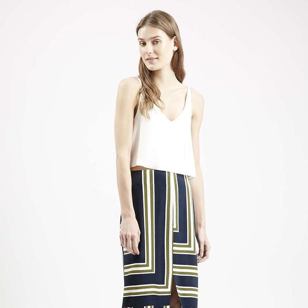 Topshop Striped Split Midi Skirt