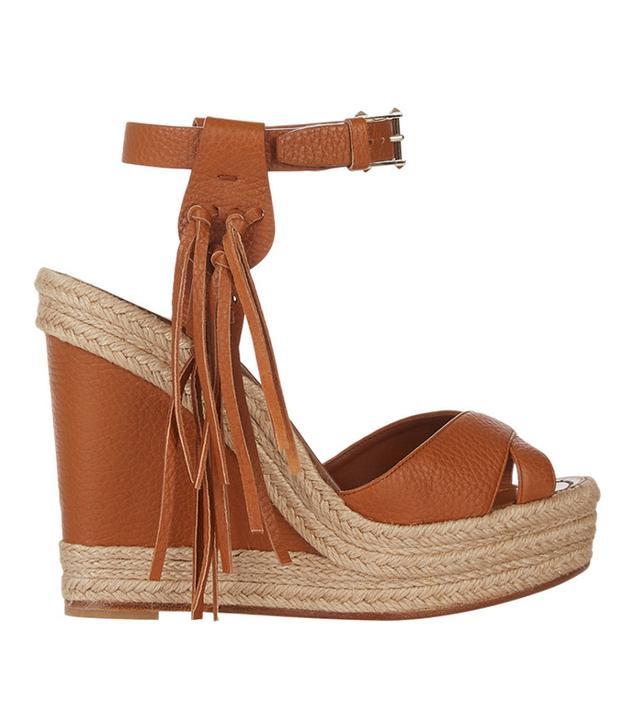 Valentino Fringe-Trim Platform Sandals