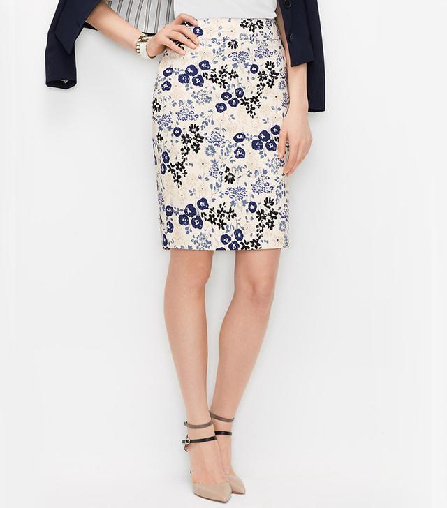 Ann Taylor Graphic Floral Pencil Skirt