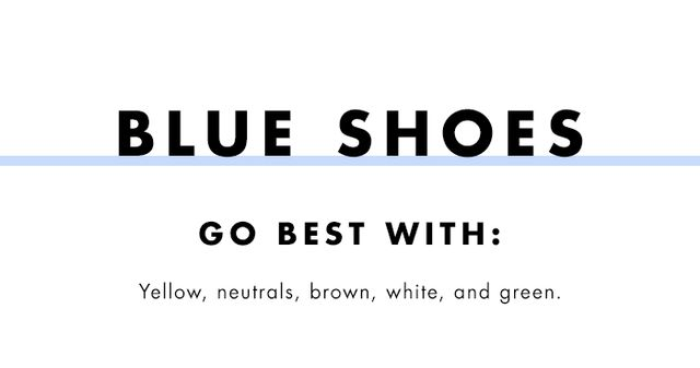What to wear with coloured heels: blue shoes