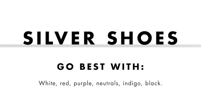 What to wear with coloured heels: Silver shoes