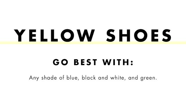 What to wear with coloured heels: yellow shoes