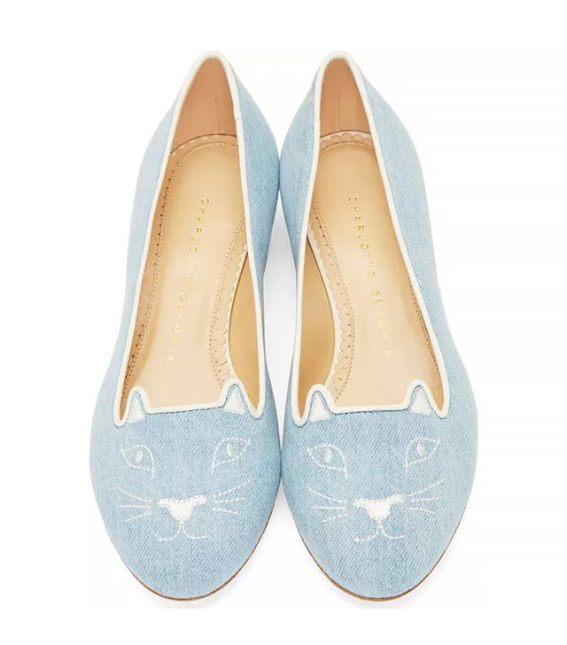 Charlotte Olympia Blue Washed Denim Kitty Flats