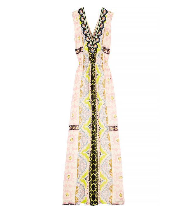 Vineet Bahl Embellished Printed Georgette Maxi Dress
