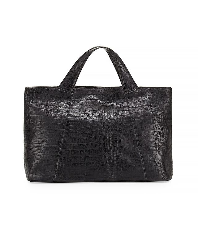 Neiman Marcus Gemma Croc-Embossed Faux-Leather Tote Bag