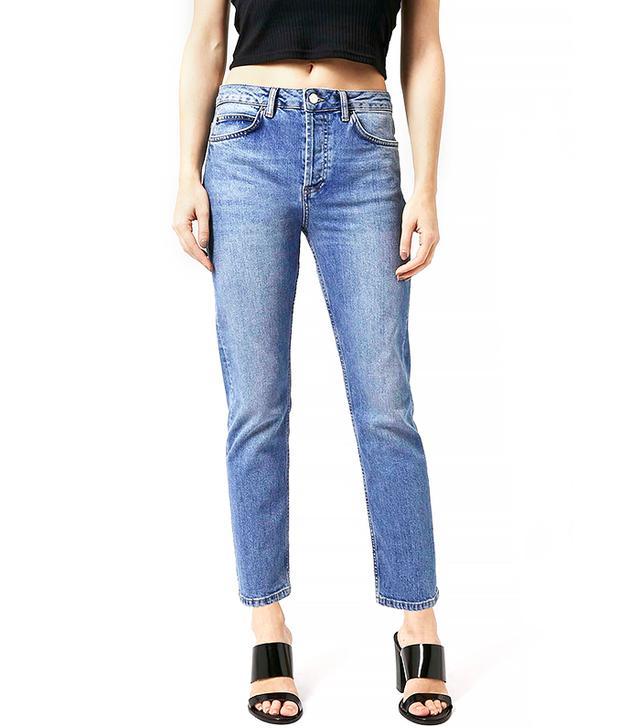 Topshop Moto Mid Blue Girlfriend Jeans