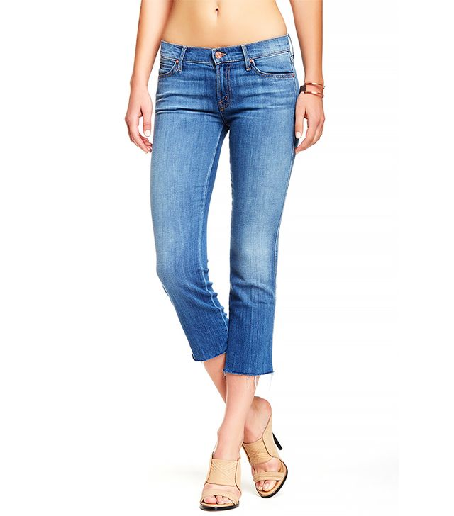 Mother The Rascal Cropped & Frayed Jeans