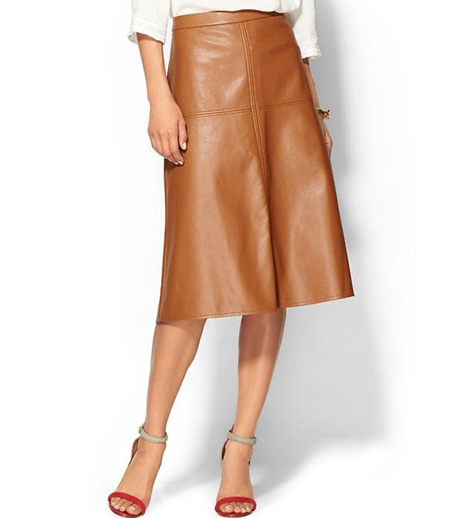 Piperlime Collection Faux Leather Midi Skirt
