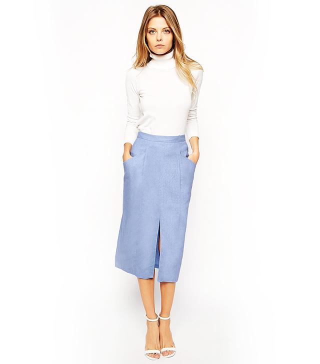 ASOS Linen Split-Front Pencil Skirt