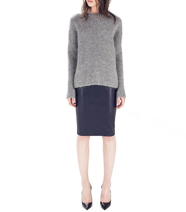 Zara Faux Leather Skirt in Navy Blue
