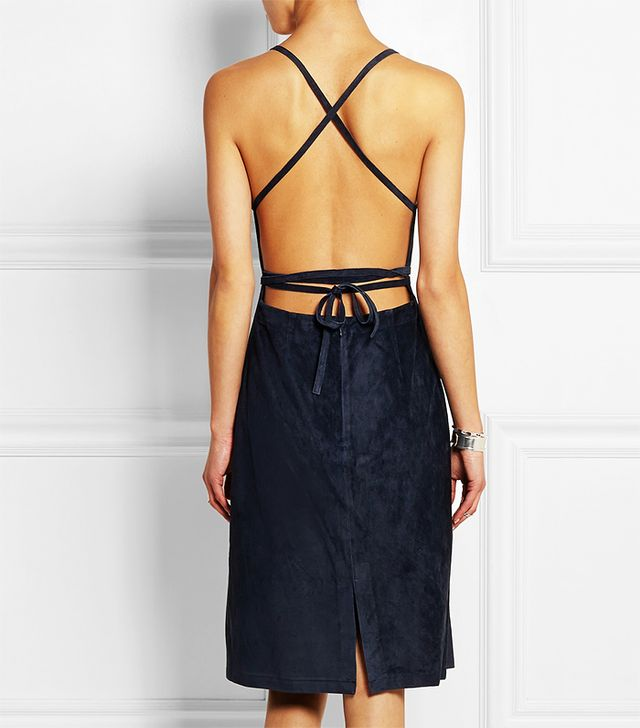 Theory Lilita Backless Suede Dress