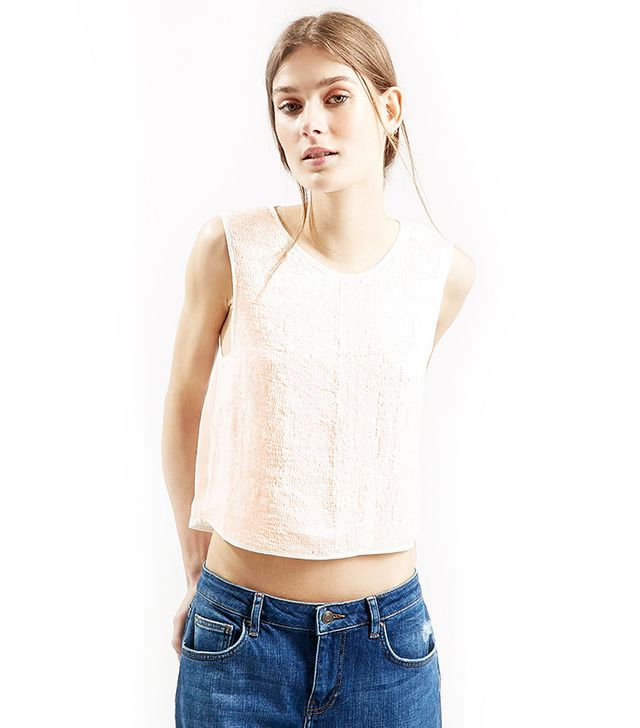 Topshop Panelled Sequin Shell Top