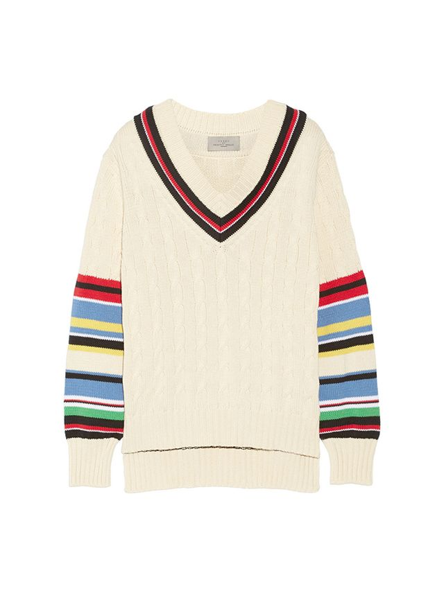 Preen by Thornton Bregazzi Blythe Striped Cable-Knit Cotton Sweater