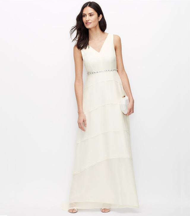 Ann Taylor Tiered Silk Georgette Wedding Dress