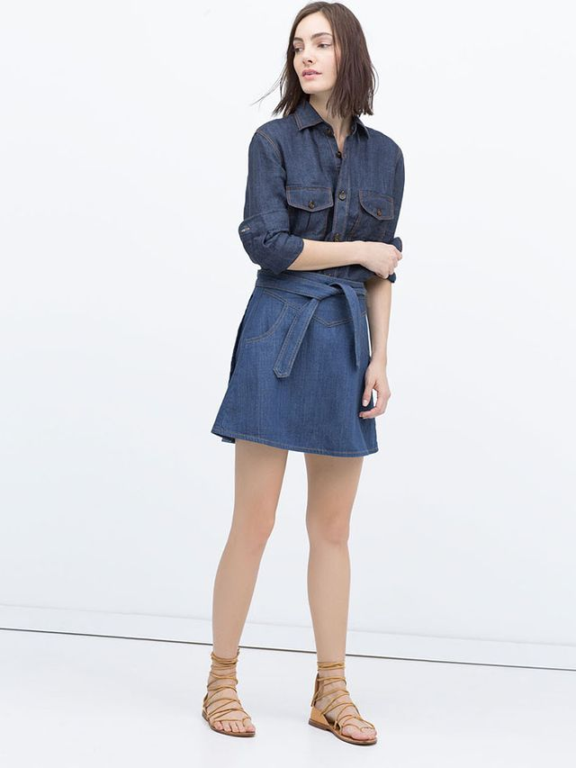 Zara Denim Skirt With Belt
