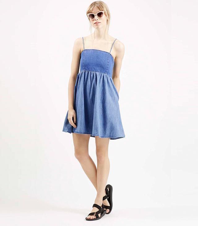 Topshop Denim Babydoll Dress