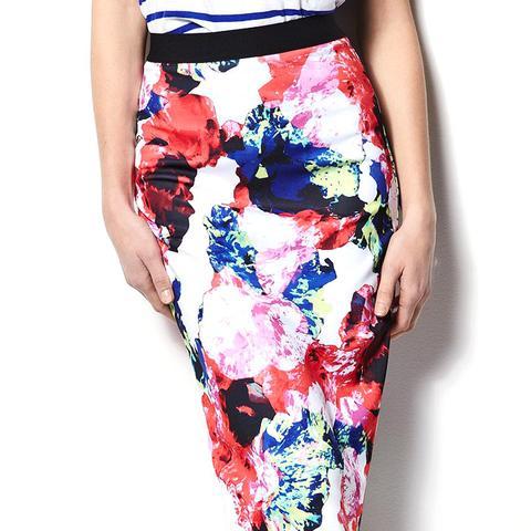 Abstract Floral Midi Scuba Skirt