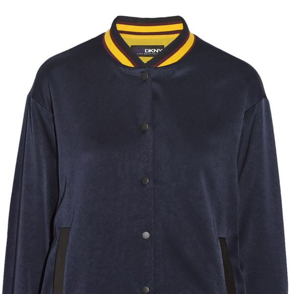 DKNY Crepe de Chine Varsity Jacket