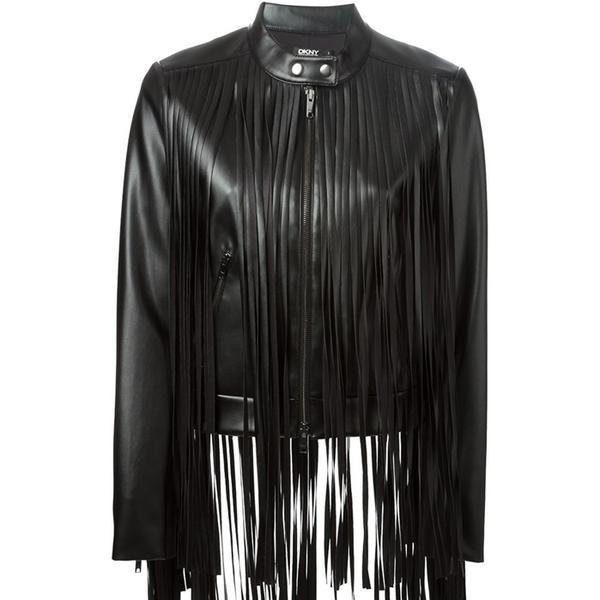 DKNY Fringed Faux Leather Jacket