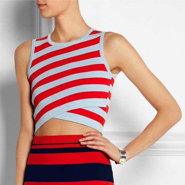 DKNY Striped Crop Top