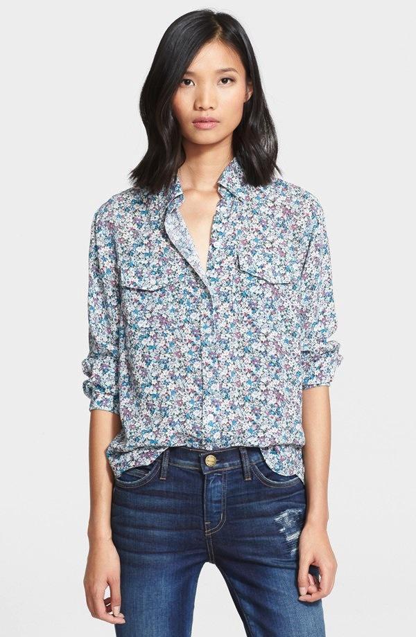 Current/Elliott The Perfect Shirt Floral Print Shirt