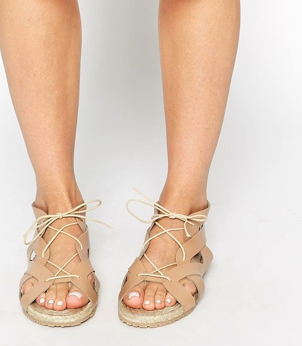Pieces Exclusive Multi Strap Leather Flat Sandals