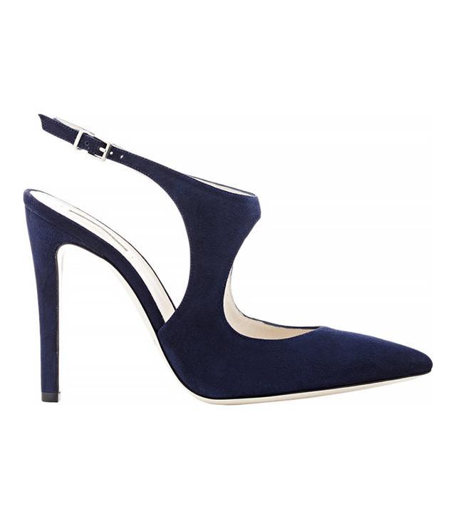 Giorgio Armani Navy Suede Cutout Slingback Sandals