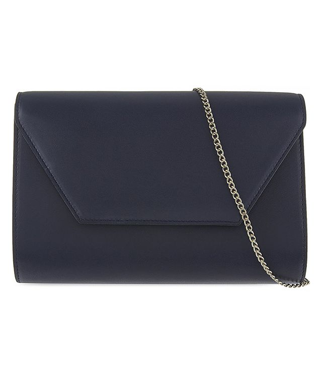 Max Mara Navy Leather Envelope Clutch