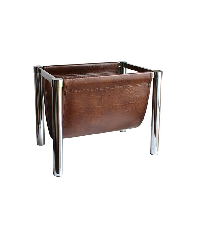 High Street Market Midcentury Chrome and Leather Magazine Rack
