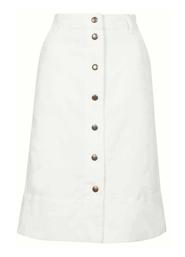 Topshop Cord Button-Through Midi Skirt