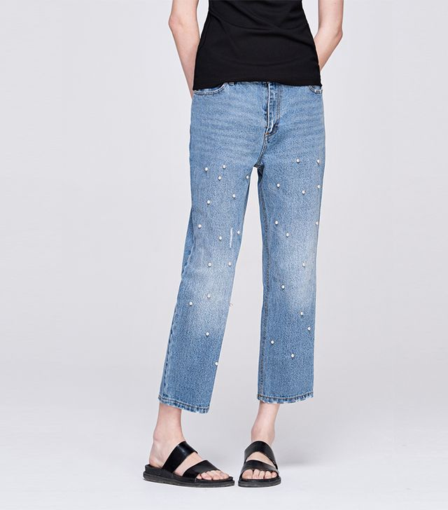 Front Row Shop Pearl Denim Wide Leg Pants