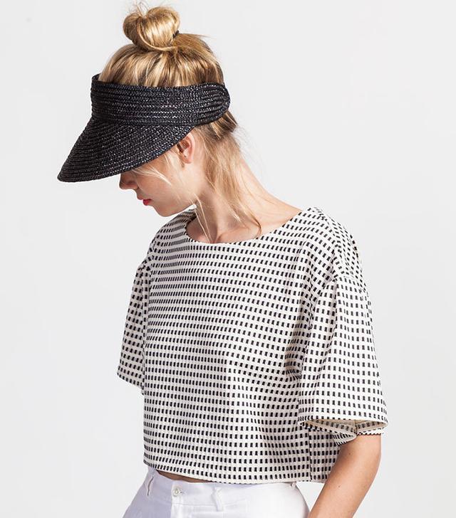 Koshka Ruffle Sleeve Grid Top