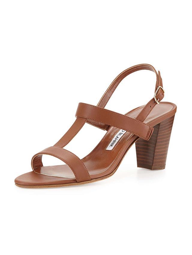 Manolo Blahnik Labruni T-Strap Leather Sandals