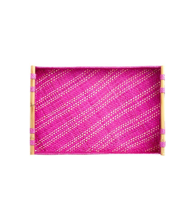 World Market Fuchsia Stripe Pandan Tray
