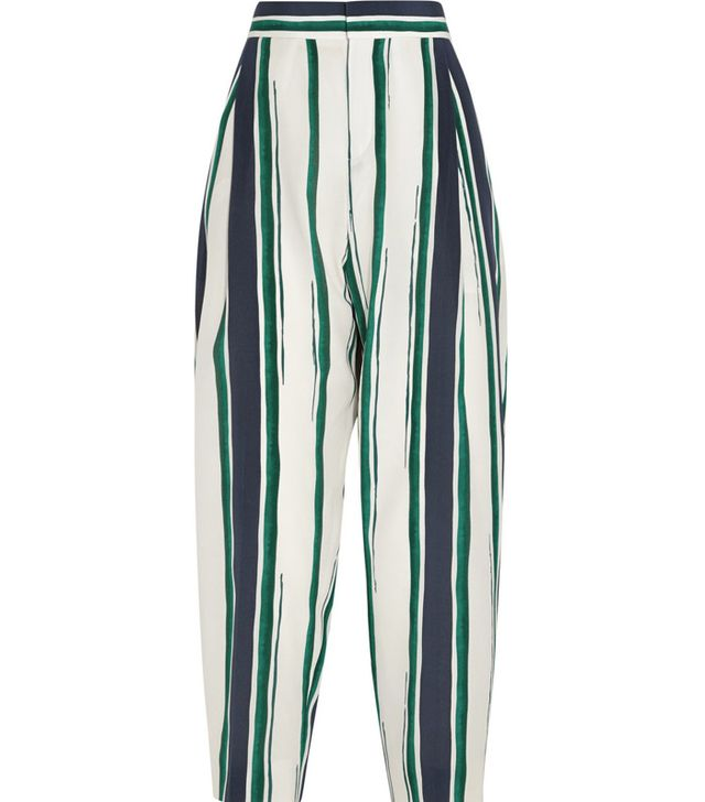 Chloé Cropped Striped Silk-Crepe Tapered Pants