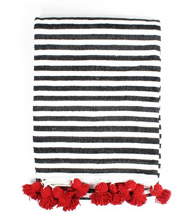Bohemia Design Striped Cotton Pom Pom Blanket