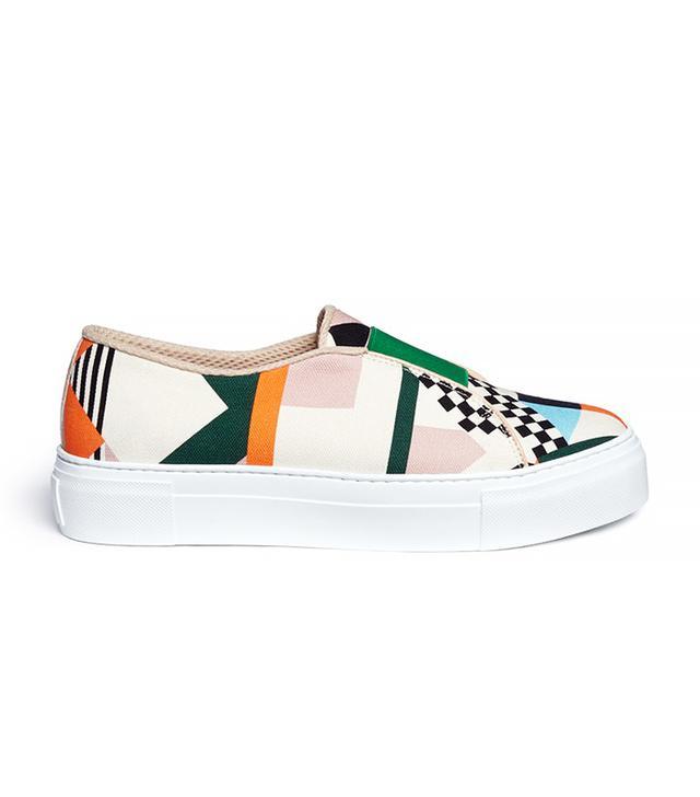 MSGM Geometric Print Slip-On Sneakers